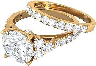 Anillo de compromiso con racimo de moissanita certificado solitario de 3,29 quilates, grabado en oro, anillo de promesa de...