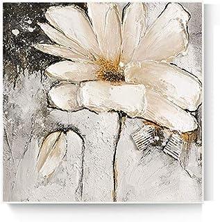 Pinturas Al Óleo Sobre Lienzo 100% Dibujado A Mano,Individualidad Abstracta Rayada Planta De Flor Blanca,Pintura En 3D Estilo Paleta Grande Cuchillo Pinturas Obra De Arte Colgante Hecho A Mano A
