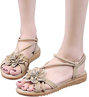 Amlaiworld Women Summer Sandals Bohemian Beaded Sandals Flowers Flat Open Toe Sandals Soft Slippers