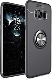 Avalri Samsung Galaxy S8 Case, Thin Soft Full Protective 360 Degree Rotating Ring Kickstand Cover with Support Magnetic Car Mount Function for Galaxy S8 (Black-Black)