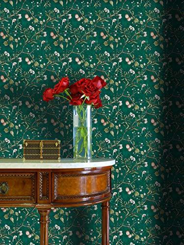 Retro Green Floral Peel and Stick Wallpaper 17.7' x 118'Self-Adhesive PVC Fruit Tree Rustic Garden Blooming Flower Bird Waterproof Removable Wallpaper Natural Living-Room Bedroom Shelf Drawer