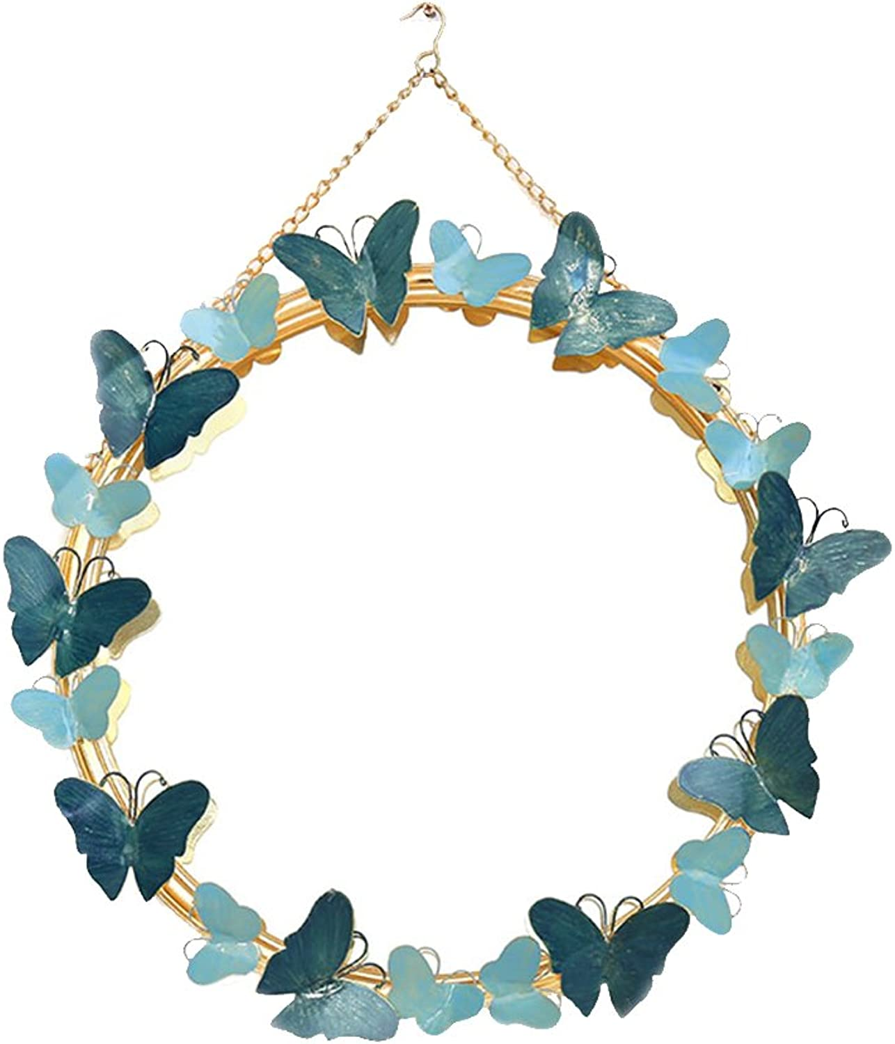 MX Mirror Wrought Iron bluee Pink Wall Stereo Three-Dimensional Butterfly Shape Hand-Painted Multi-Element 2 colors Optional for All Occasions Creative Dressing Mirror (color   bluee)