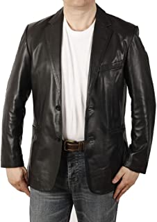 Semi-Fitted Mens Black Leather Blazer