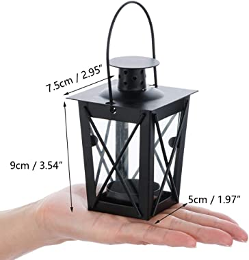 4 Pcs Vintage Black Metal Mini Decorative Candle Lanterns Tealight Candle Holder & Led Tea Light Candleholder Decoration