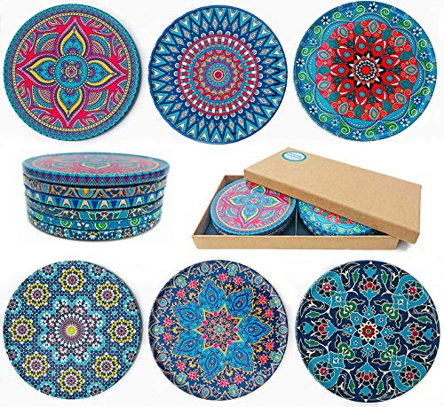 Totally Turkish Drink Coasters Set of 6 - Unique Mediterranean Design Coaster Set for Table Rustic Coasters with Non-Slip Cork Back (Bodrum)