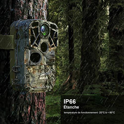 WiMiUS H8 WiFi Caméra de Chasse, 24MP 1296P HD 0.3s Grand Angle 120°Mouvement Vision Nocturne Étanche IP66