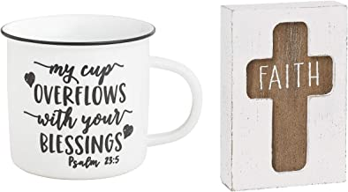 Collins Painting - Blessed Gift Bundle - My Cup Overflows With Your Blessings 12 Oz Camp Mug and Faith Christian Cross Wood Sitter Sign