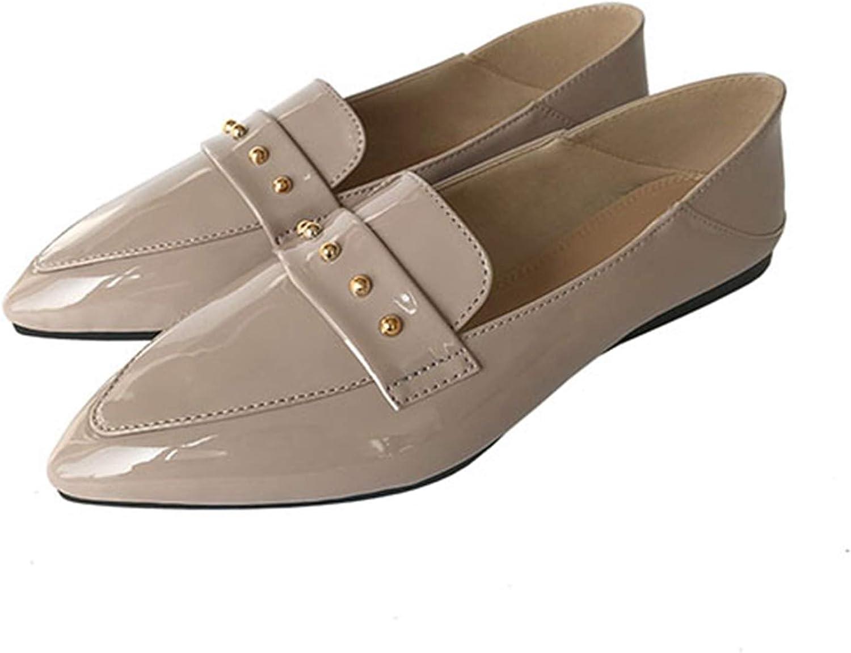 Jocbinltd Women Black Stud Slip On Patent Leather Embellished Rivet Pointed Toe Loafers Flats Pointed Toe Slip On shoes