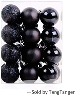 TangTanger Christmas Ball Assorted Pendant Shatterproof Ball Ornament Set Seasonal Holiday Wedding Party Decorations(24 pcs, 3 cm) (Black)
