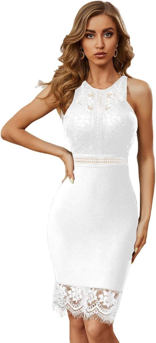 Ladies Evening Dress Hollow Lace Round Max 53% OFF Mid- Indianapolis Mall Waist High Neck
