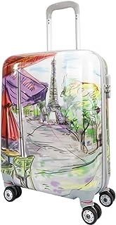 MERCURY TEXTIL-Equipaje de Mano (55cm Super Ligera con 4 Ruedas,con película Protectora Que se Quita,Material Policarbonato) (Dibujo Torre Eiffel)