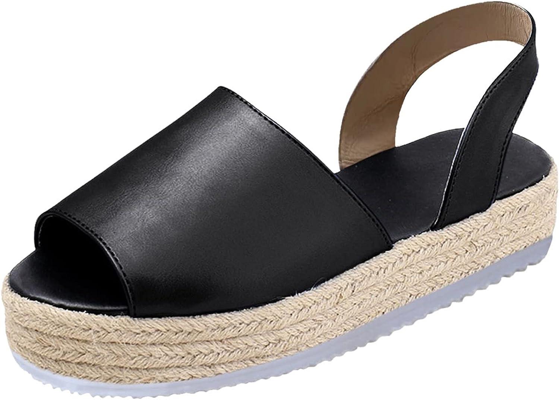 Jesaisque Womens Sandals Espadrille Strap Wedge Sandals Casual Summer Open Toe Slippers Strappy Platform Sandals