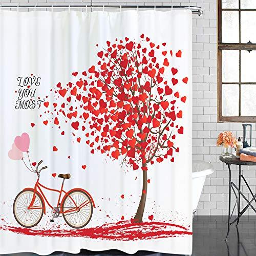 Alishomtll Valentinstag Duschvorhang Romantische Liebe Herzen Baum mit Fahrrad & Blütenblättern Duschvorhang mit 12 Haken Langlebig Wasserdicht Badvorhang