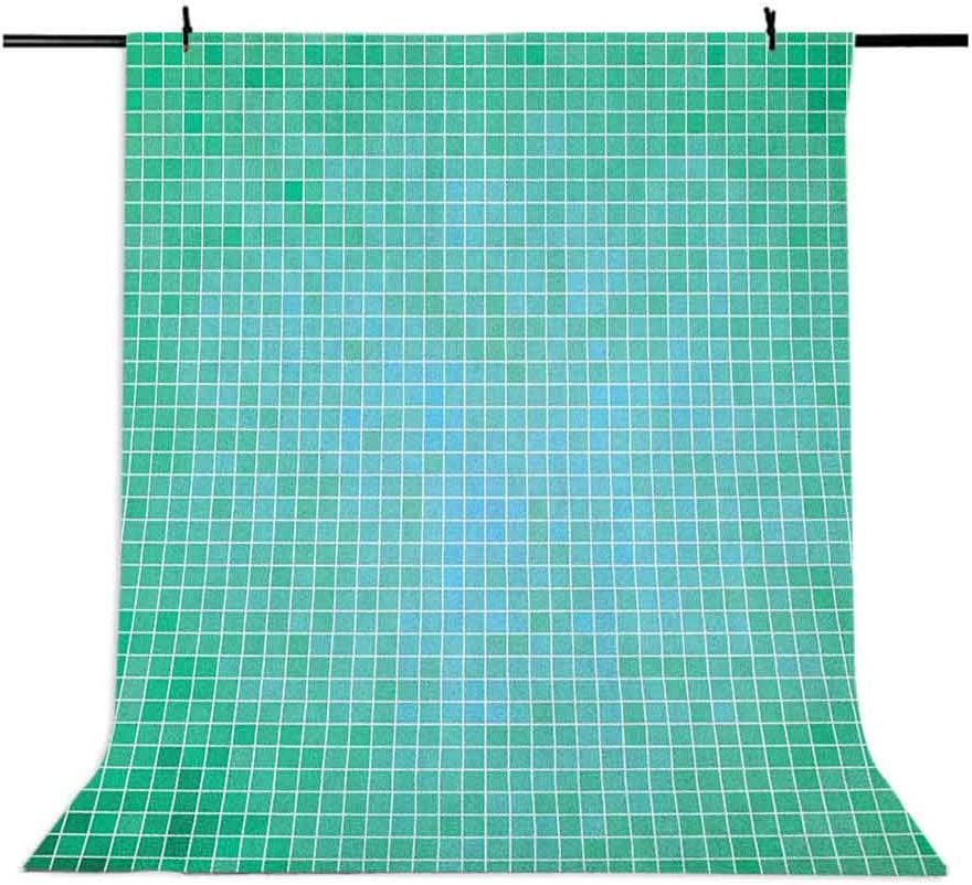 8x12 FT Teal Vinyl Photography Backdrop,Square Pixel Like Mosaic Pattern Simplistic Modern Contemporary Design Illustration Print Background for Party Home Decor Outdoorsy Theme Shoot Props
