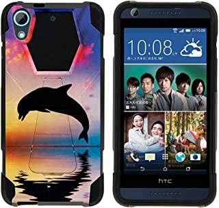 Compatible with HTC Desire 626 Case | Desire 626s | Desire 650 [Dynamic Shell] Hybrid Dual Layer Case Silicone Hard Shell Kickstand Cover Ocean Sea by TurtleArmor - Dolphin Jump
