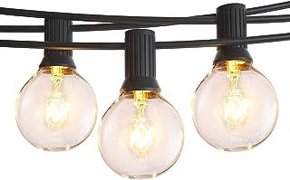 Anting 15 m lichtsnoer voor buiten, 50 ft lichtsnoer voor binnen en buiten, met stekker, 28 lampen (3 reservelampen), G40 ...