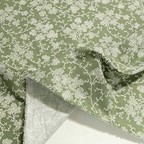 TOLKO Baumwollstoff | 42 kräftige ÖkoTex Farben Baumwoll-Nesselstoff uni Kleiderstoff Dekostoff | Baumwolle Meterware 150cm breit | Vorhang-Stoff Bezugsstoff Webstoff 50cm (Blumen)