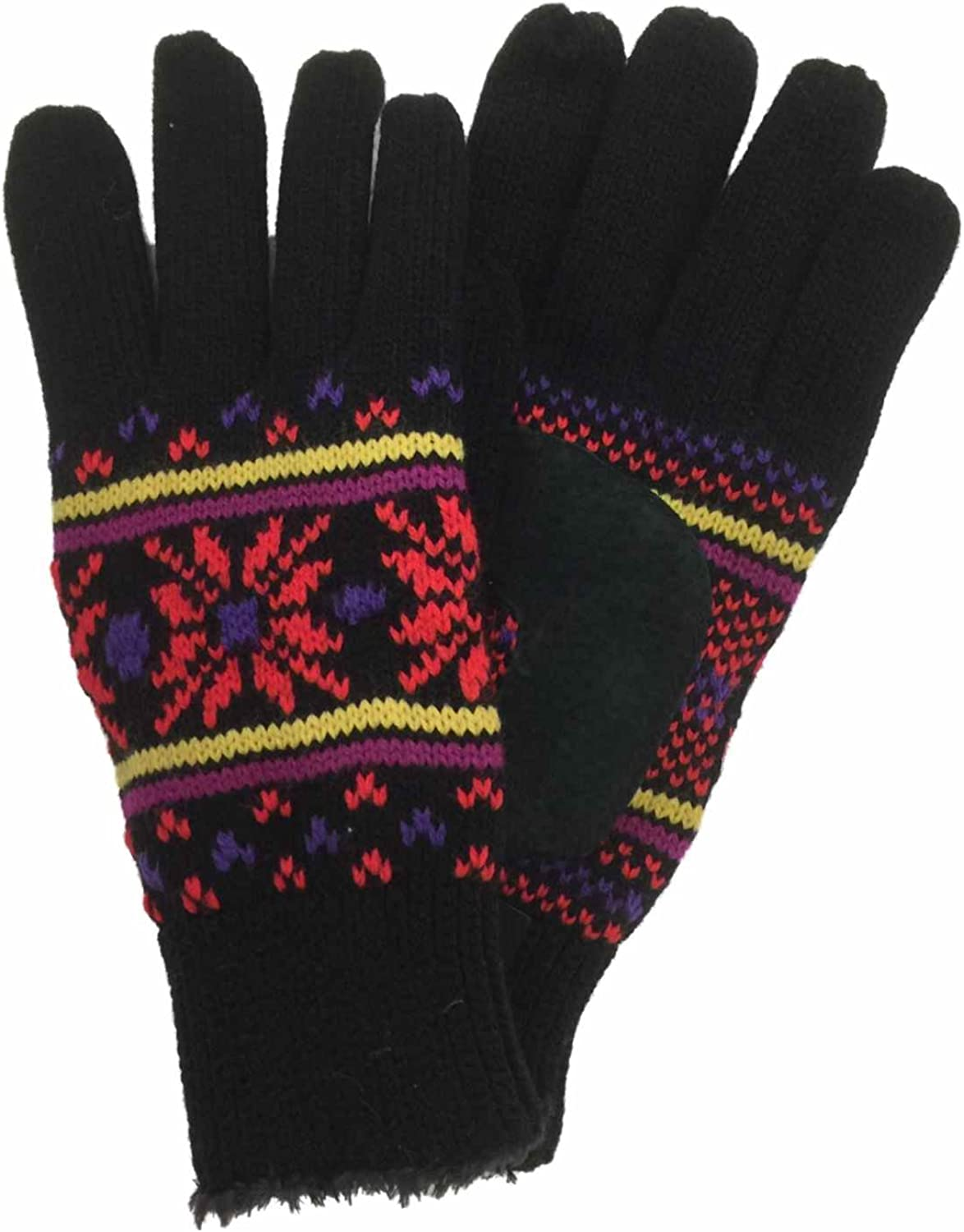 Isotoner Womens Black & Red Snowflake Knit Gloves with Microluxe Lining