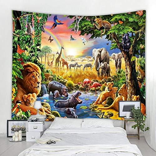 shuimanjinshan Tapiz Tigre León Elefante Tapices para Colgar en la Pared Cubierta Toalla de Playa Manta de Picnic Estera de Yoga Decoración del hogar 150X180Cm