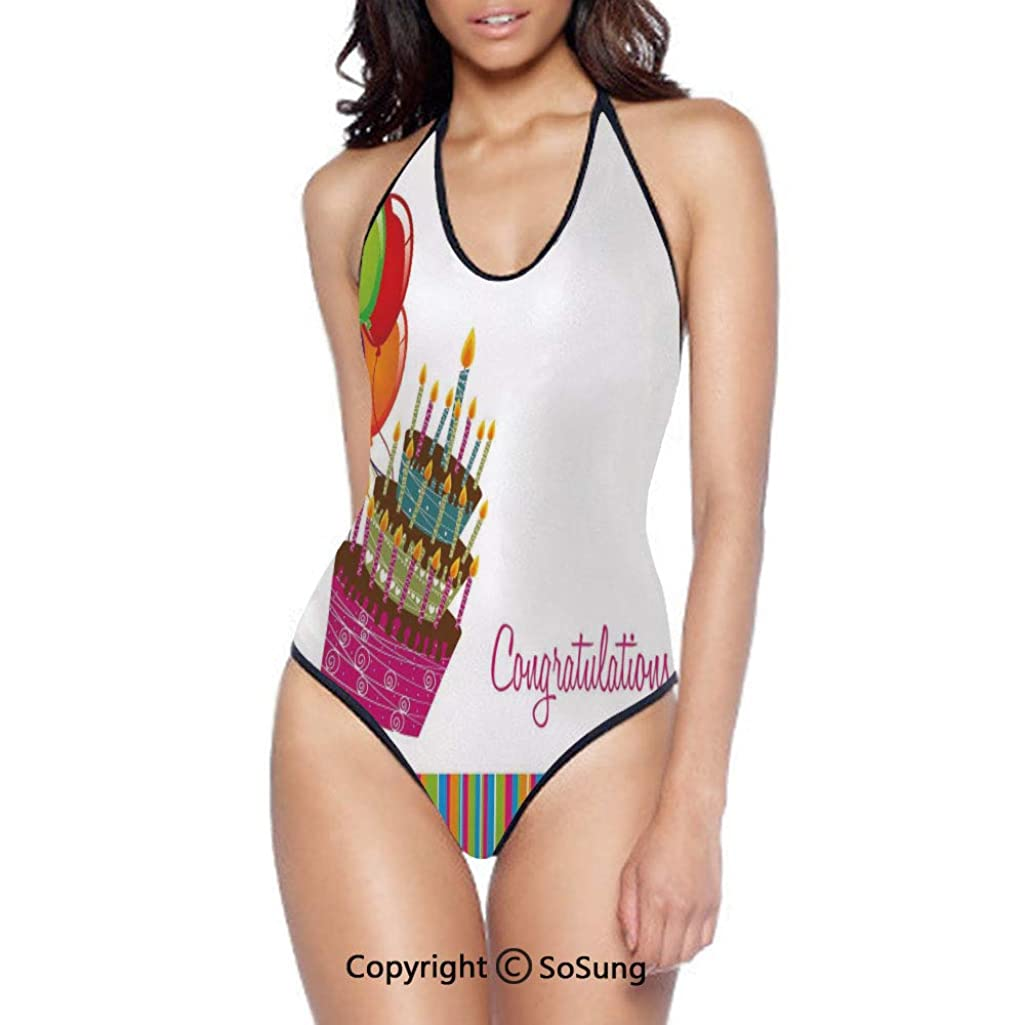 Women Bikini Sets Beach Swimwear Graphic Cake Candles Balloons Bathing Suit
