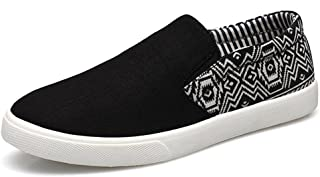 Diffyou Men's Ethnic Pattern Slip On Canvas Shoes Sneakers