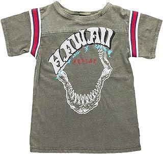 32e076db50b Replay Kids Khaki T-Shirt with Print and Stripes Khaki T-Shirt with Print