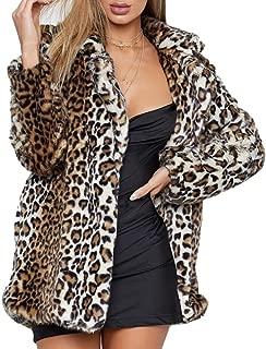 Fashion Women's Winter Long-Sleeved Jacket Faux Fur Coat Plus Large Size Fluffy top Coat Leopard Print S-3XL