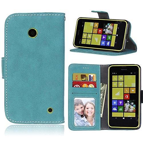 FeiNianJSh Custodia in Pelle PU Premium per Nokia Lumia 635/630, in Stile retrò, con Copertina in Pelle, Custodia Protettiva con Slot per schede/Supporto e Tasca per Soldi e Fibbia Magnetica