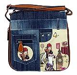 yourlifeyourstyle Jeans Look Umhängetasche mit Print auf Kunstleder oder aufgenähten Patches, Nieten - Maße ohne Riemen 25 x 26 cm - Damen Mädchen Teenager Tasche (London Mäd.)