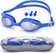 Dreamslink Swim Goggles, Swimming Goggles Anti Fog UV Protection No Leaking Triathlon Swim Goggles with Nose Clip, Ear Plugs for Adult Men Women Youth Kids Child
