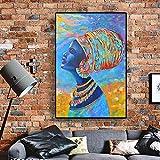 ganlanshu Leinwanddrucke Afrikanische Frauenwandplakate und Hausdekoration für Wohnzimmer 60x80cmRahmenlose Malerei