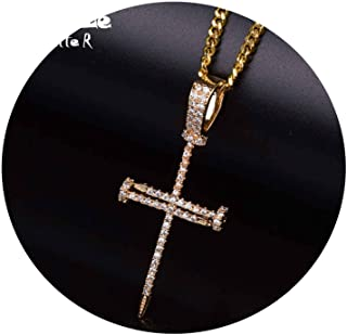 Gold Zircon Nail Cross Pendant Gold Silver Copper Material Iced Cross CZ Pendants Necklace Chain Fashion