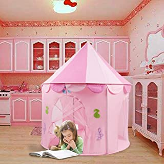 Soo Angeles Princess Castle Play Tent for Kids Pink Pop Up Castle Dollhouse Conveniently Folds Girls Playhouse Toy Christmas Birthday Gift for Indoor & Outdoor with Carry Bag