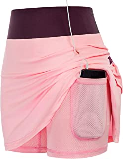 JACK SMITH Pink Breathable Active Skorts for Women Plus Size Performance Sport Skirt Running Skort with Short(Contrast Pin...