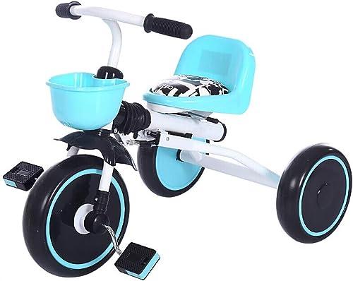 NBgy Tricycle Pliable Bleu, Bicyclette à Trois Roues Jaune pour Enfants Multi-Fonctions, Roue De Mousse De Bicyclette Rouge Extérieure pour Bébé De 2 à 6 Ans, 45x70x50cm (Couleur   bleu)