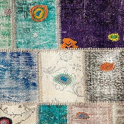 Homemania Tapis Imprimé Trend Patchwork-Décoration de Maison-Antidérapants-pour Salon, Séjour, Chambre à Coucher-Multicolore en Polyester, Coton, 80 X 120cm
