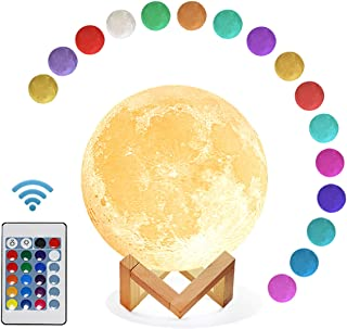 Mydethun Moon Lamp 16 Colors LED 3D Print Cool Moon Night Light with Stand Remote Touch Control and USB Rechargeable Gift ...
