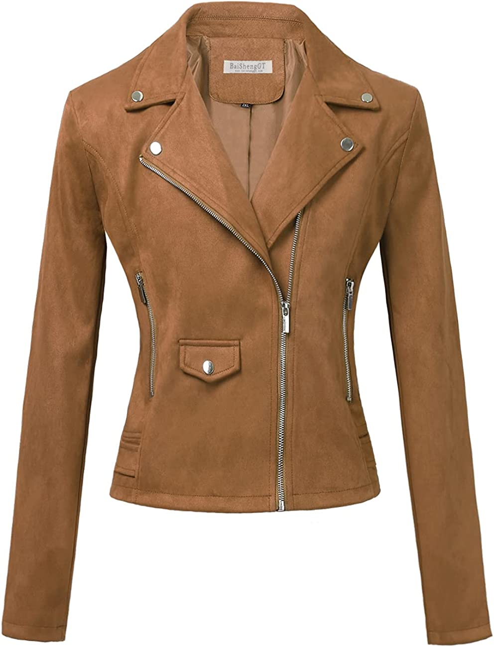 BAISHENGGT Womens Faux Suede Zip Up Motorcycle Short Jacket Casual Outwear Coat