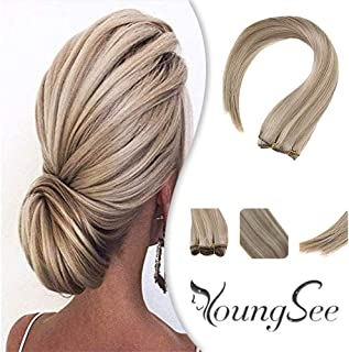 Youngsee 18 Inches 100% Real Human Hair Weft Blonde Highlight Brazilian Sew in Weave Dark Ash Blonde with Golden Blonde 1 Bundle Remy Hair Weft 100g