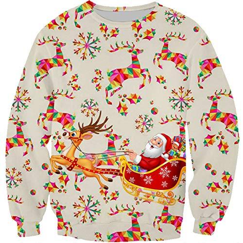 Yellow corn Suéter de Navidad para chico feo de Navidad, suéter de la novedad de impresión 3D cuello redondo suéter casual sudadera