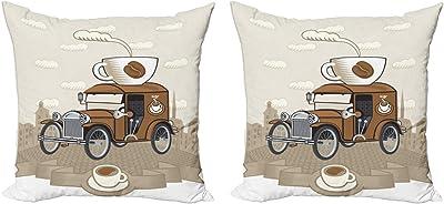 ABAKUHAUS Coches Set de 2 Fundas para Cojín, Pasado de Moda de Paseo de café, con Estampado en Ambos Lados con Cremallera, 60 cm x 60 cm, Caramelo Cacao Blanca