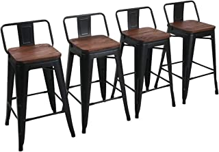 """Yongchuang 26"""" Metal Barstools Set of 4 Counter Height Bar Stools with Wood Top Low Back Matte Black"""