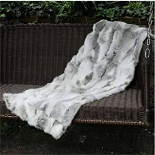 Seek4comfortable Soft Real Rabbit Grey Fur Throw Blanket Rug Patchwork Skin Fur Rug Pelz Leather Pelt Home Kitchen Bed Throws, 43