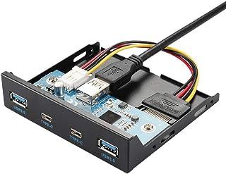 Fransande Hub USB Hub USB C Hub 3,5 Pollici Lettore di Dischetto Pannello Frontale 2 Porte USB 3.0 + 2 Porte USB 3.1 Tipo ...