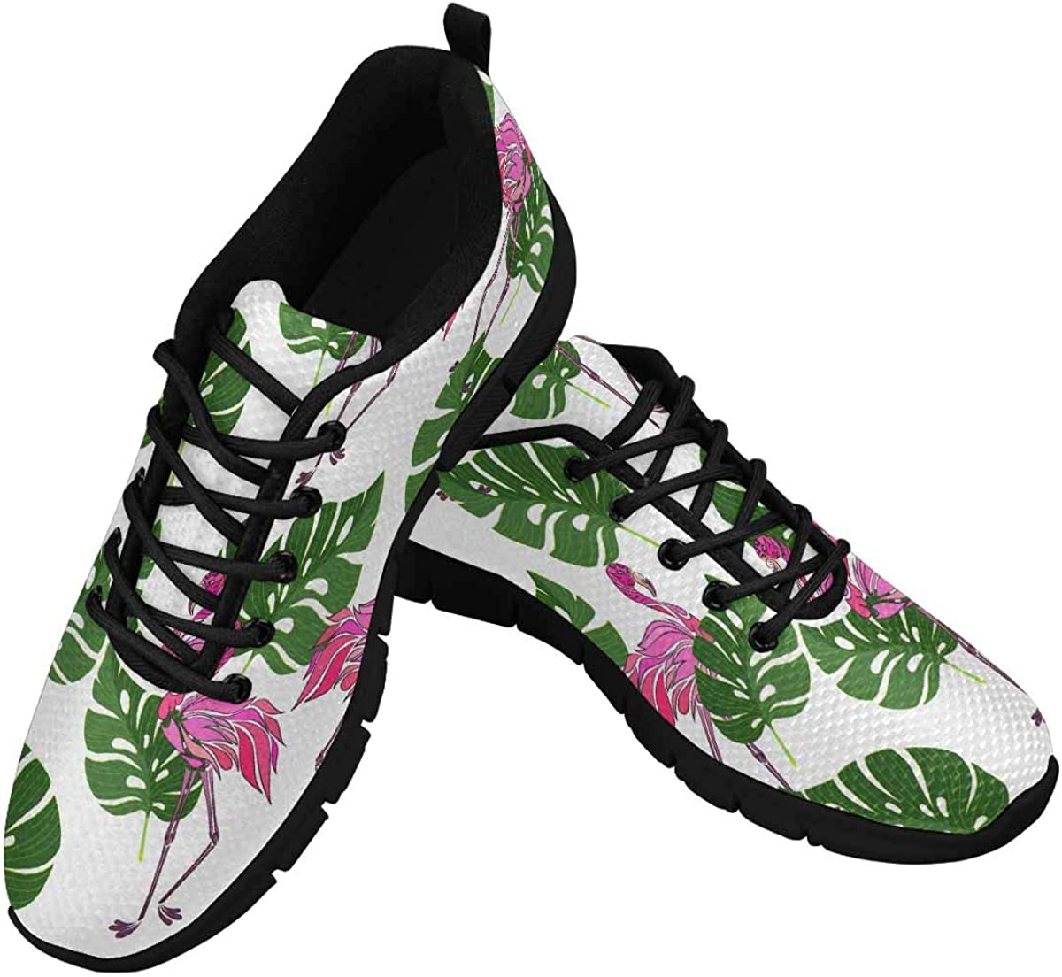 InterestPrint Tropical Monstera Leaves and Flamingos Women's Athletic Mesh Breathable Casual Sneakers Fashion Tennis Shoes
