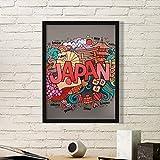 DIYthinker Amo Japón Asia Cultura Colorido Lindo del Arte Decorado a Mano Sakura Bonsai Sushi Geisha ilustrado Modelo Simple de Fotos Marco de Cuadros de Pinturas casera de la Pared Pequeño Negro