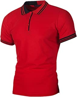 Mens Casual Polo Shirt, Fashion Personality Slim Striped Short Sleeve Patchwork Top Blouse