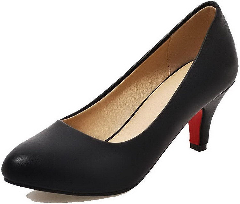 WeenFashion Women's Kitten-Heels Pu Solid Round-Toe Pumps-shoes