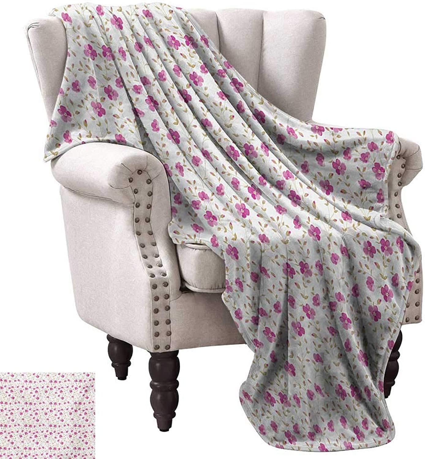 Anyangeight Digital Printing Blanket,Peony in Vintage Style Girly Sweet Curly Stems Happy Times Engagement Theme 60 x50 ,Super Soft and Comfortable,Suitable for Sofas,Chairs,beds