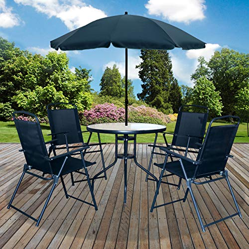 Marko Outdoor Madrid 6PC Garden Patio Furniture Set Outdoor Black 4 Seater Large Round Table Parasol